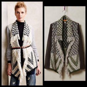 Anthro MOTH Drape Fringe Knit Cardigan Sweater